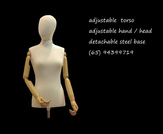 Torso wood base mannequin beige color adjustabletorso