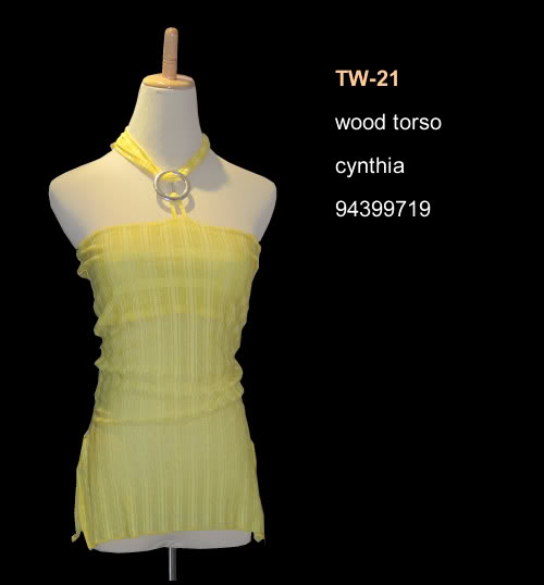 Torso wood base mannequin beige color TW-21